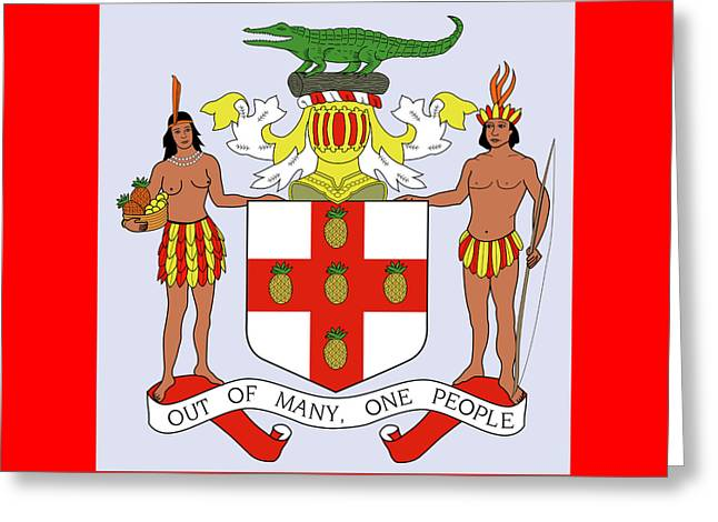 Greeting Card featuring the drawing Jamaica Coat Of Arms by Movie Poster Prints