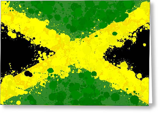 Jamaica Flag Paint Splatter Greeting Card by Dan Sproul