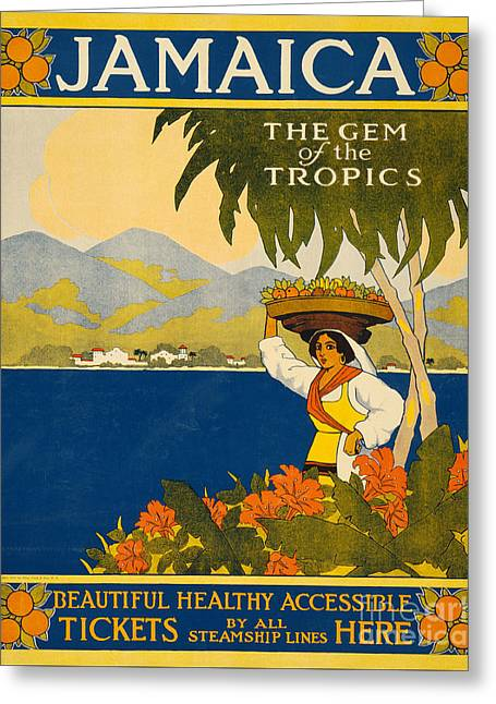 Jamaica  Vintage Travel Poster Greeting Card