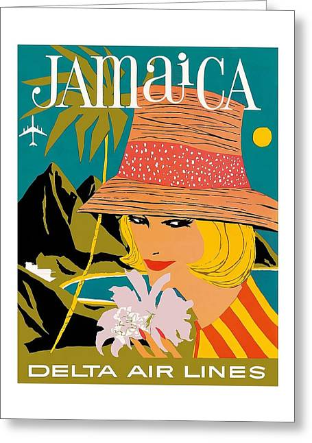 Jamaica Woman With Orchid Vintage Airline Travel Poster Greeting Card by Retro Graphics
