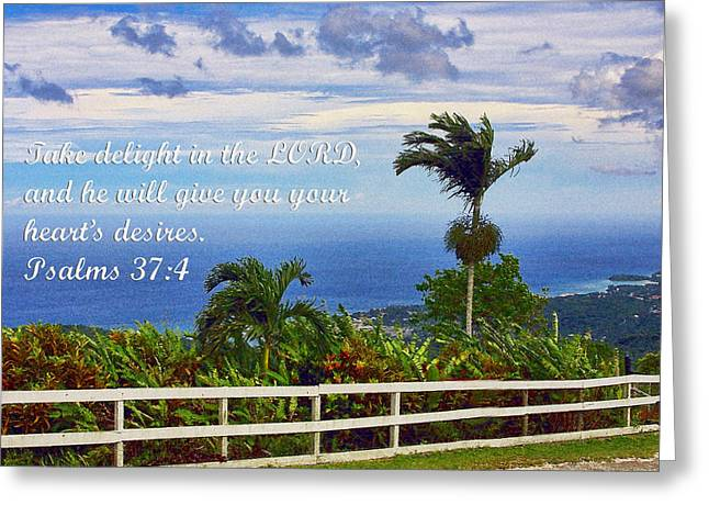 Jamaican Ocean View Ps. 37v4 Greeting Card by Linda Phelps