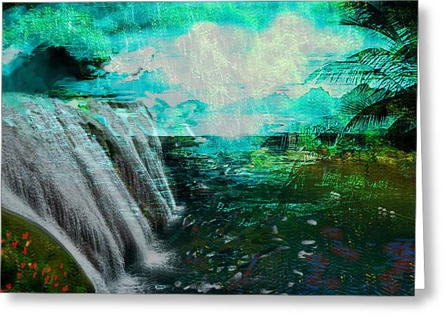 Jamaican Waterfall Greeting Card by Paul Sutcliffe