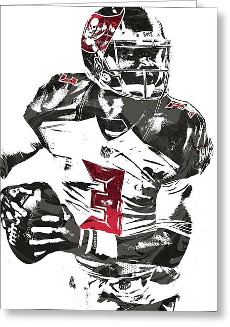 Greeting Card featuring the mixed media Jameis Winston Tampa Bay Buccaneers Pixel Art by Joe Hamilton