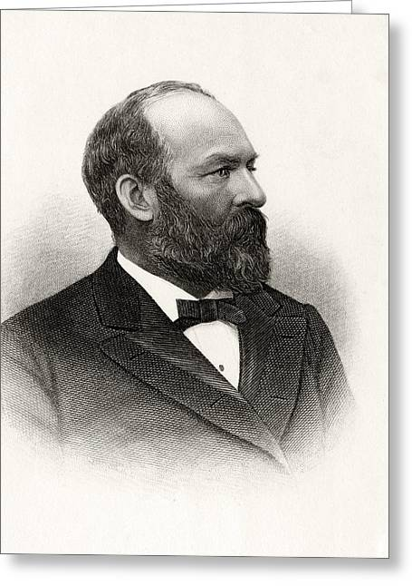 James Abram Garfield 1831 To 1881 20th Greeting Card by Vintage Design Pics
