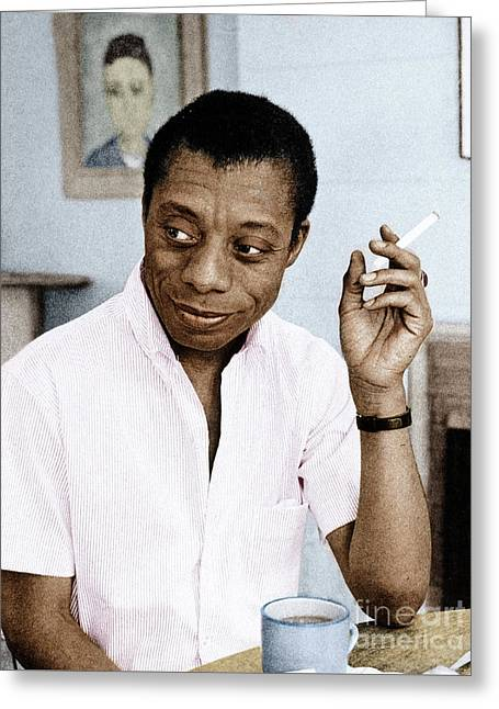 Greeting Card featuring the photograph James Baldwin by Granger