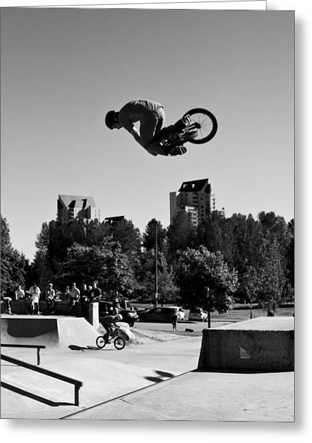 Recently Sold -  - Gnarly Greeting Cards - James- BMX Table Greeting Card by Ryan Rose
