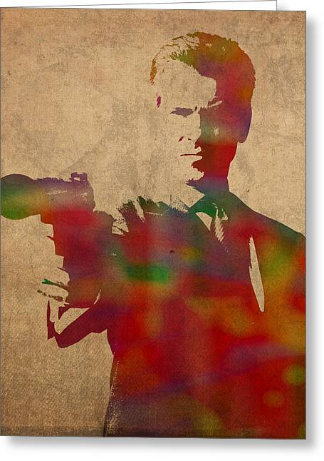 James Bond Pierce Brosnan Watercolor Portrait Greeting Card by Design Turnpike