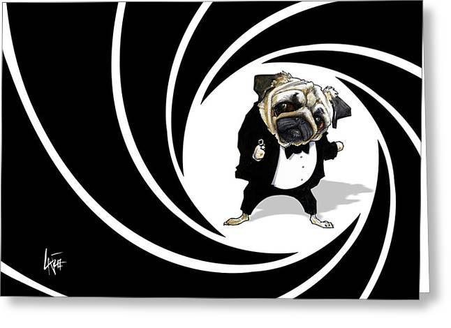 James Bond Pug Caricature Art Print Greeting Card