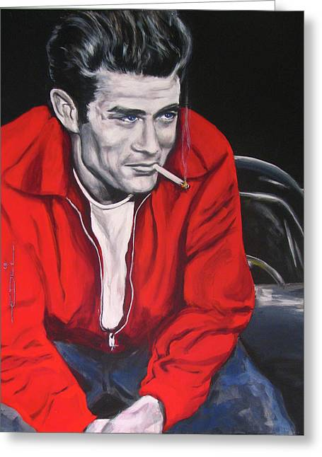 Greeting Card featuring the painting James Dean - Picture In A Picture Show by Eric Dee