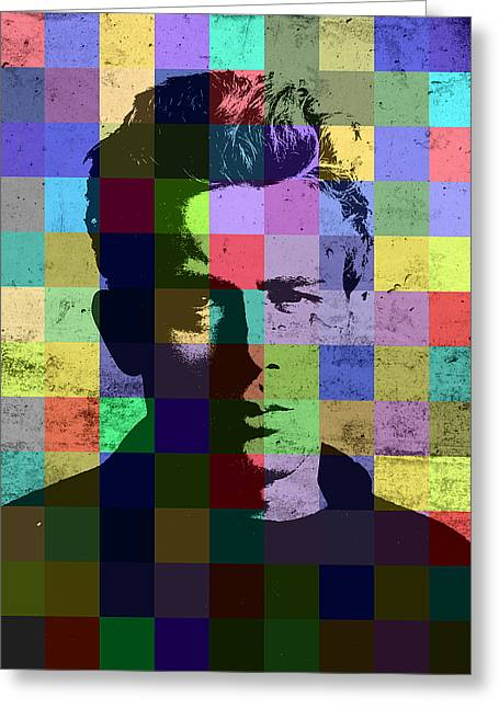 James Dean Actor Hollywood Pop Art Patchwork Portrait Pop Of Color Greeting Card