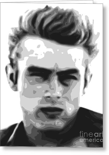 James Dean - Bw Greeting Card by Star Art