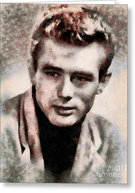 James Dean Hollywood Legend Greeting Card by Sarah Kirk