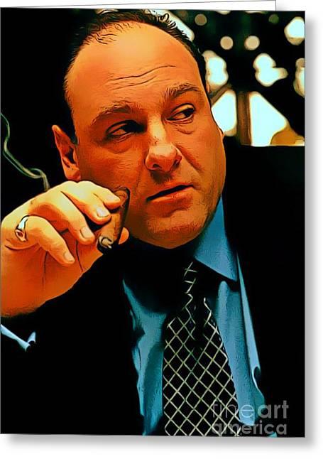 James Gandolfini As Tony Soprano Greeting Card by Pd