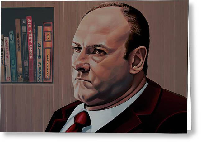 James Gandolfini Painting Greeting Card by Paul Meijering