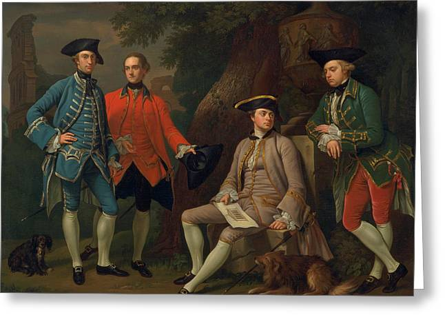 James Grant Of Grant, John Mytton, The Hon. Thomas Robinson, And Thomas Wynne Greeting Card by Nathaniel Dance