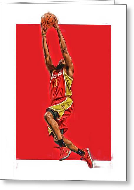 James Harden Houston Rockets Oil Art Greeting Card by Joe Hamilton