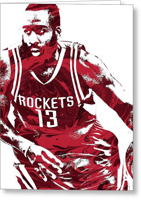 James Harden Houston Rockets Pixel Art 3 Greeting Card by Joe Hamilton