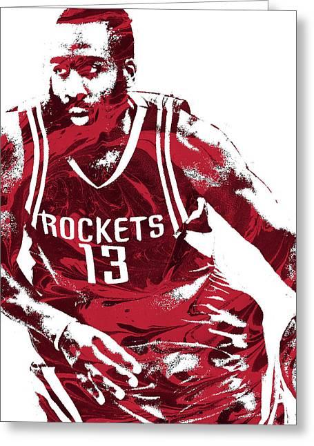 James Harden Houston Rockets Pixel Art 3 Greeting Card