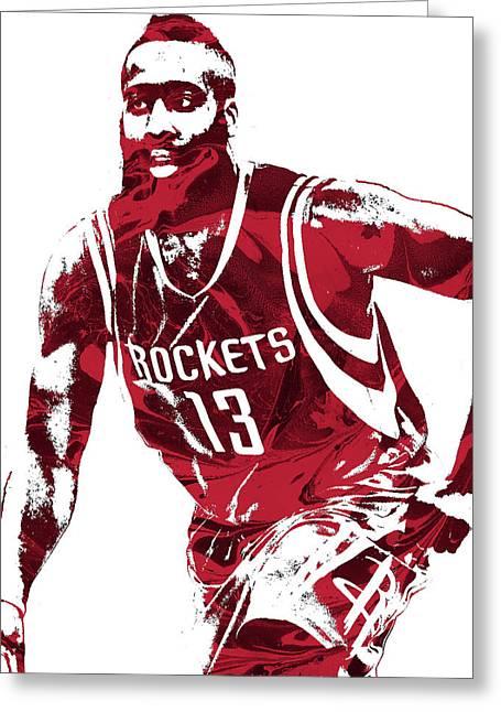 James Harden Houston Rockets Pixel Art 4 Greeting Card by Joe Hamilton