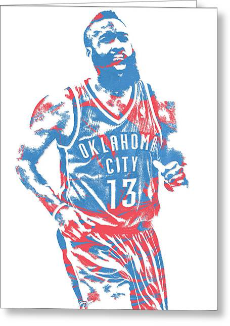 James Harden Oklahoma City Thunder Pixel Art 1 Greeting Card