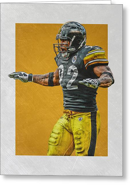 James Harrison Pittsburgh Steelers Art 2 Greeting Card by Joe Hamilton
