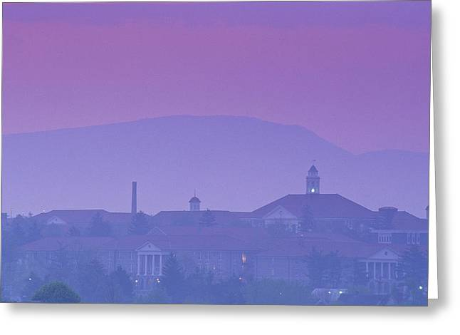 Of Buildings Greeting Cards - James Madison University At Dusk Greeting Card by Kenneth Garrett
