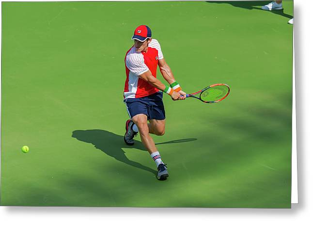 James Mcgee Plays Center Court At The Winston-salem Open Greeting Card by Bryan Pollard
