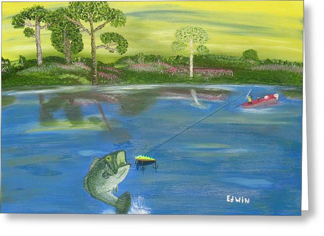 James River Bass Greeting Card by Edwin Long