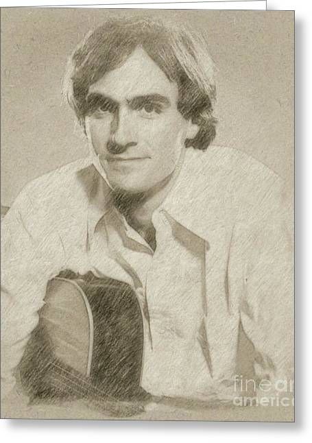 James Taylor Musician Greeting Card by Frank Falcon