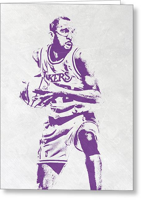 James Worthy Los Angeles Lakers Pixel Art Greeting Card by Joe Hamilton