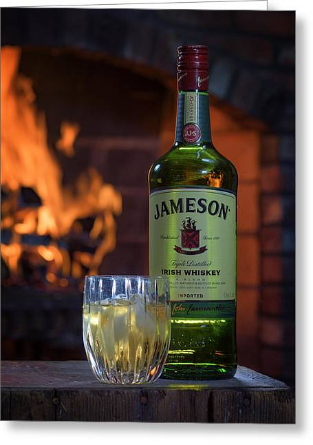 Jameson By The Fire Greeting Card by Rick Berk