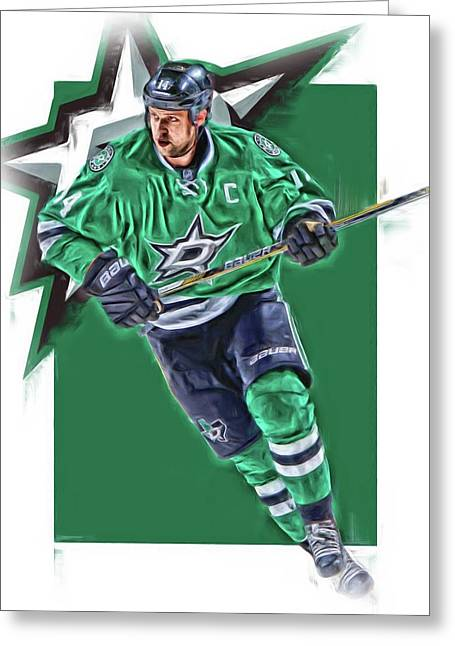 Jamie Benn Dallas Stars Oil Art Series 1 Greeting Card