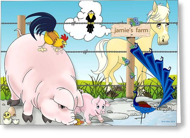 Jamie's Farm Greeting Card by Lynn Rider