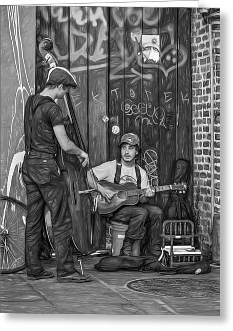 Jammin' In The French Quarter - Paint Bw Greeting Card by Steve Harrington