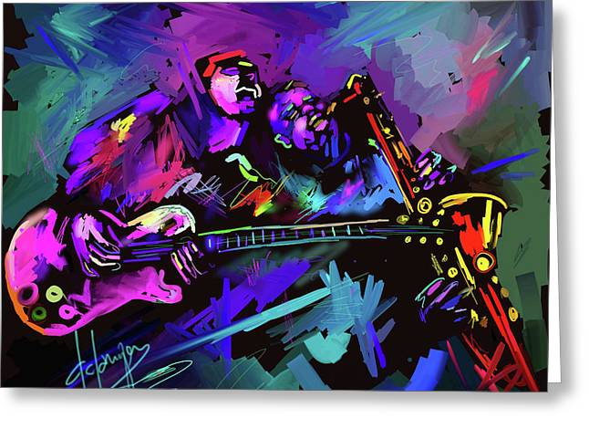 Greeting Card featuring the painting Jammin' The Funk by DC Langer