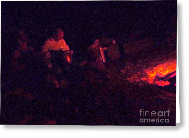 Jamming By The Fire Greeting Card by JoAnn SkyWatcher