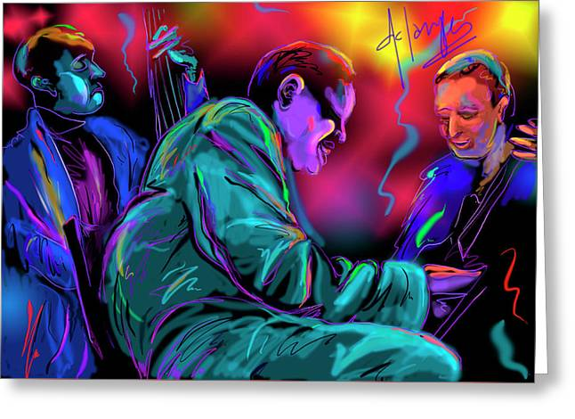 Greeting Card featuring the painting Jamming With Oscar by DC Langer