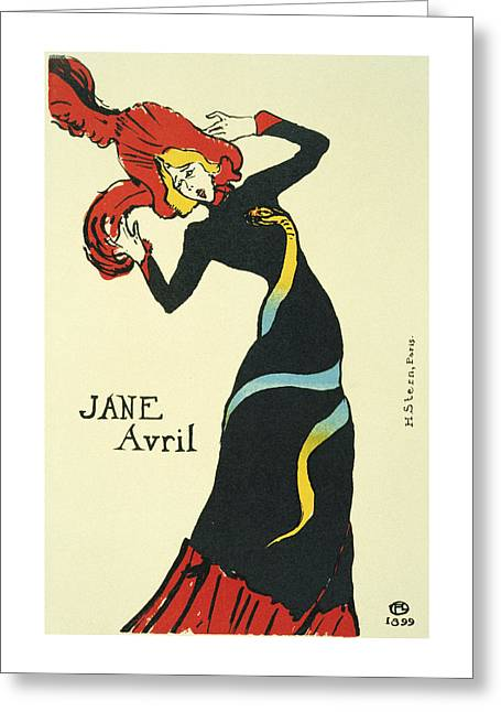 Jane Avril, 1899 By Henri De Toulouse-lautrec Greeting Card by BONB Creative
