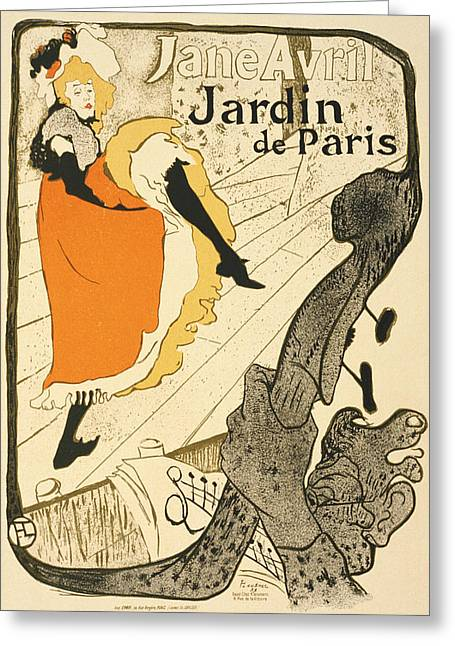 Jane Avril At The Jardin De Paris Vintage Poster Greeting Card by BONB Creative
