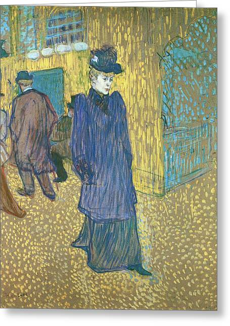 Jane Avril Leaving The Moulin Rouge Greeting Card by Henri de Toulouse-Lautrec