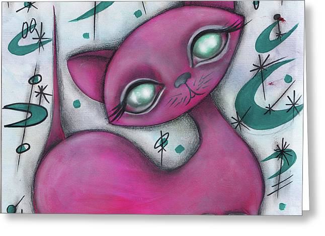 Jane Cat Greeting Card by Abril Andrade Griffith