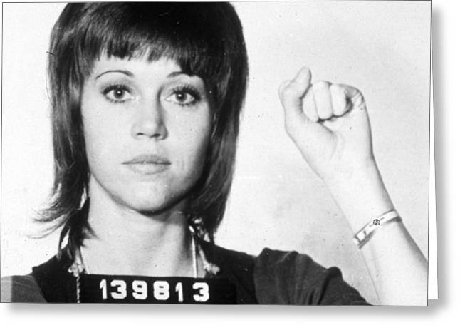 Jane Fonda Mug Shot Vertical Greeting Card