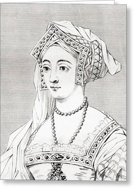 Jane Seymour, 1508 Greeting Card by Vintage Design Pics