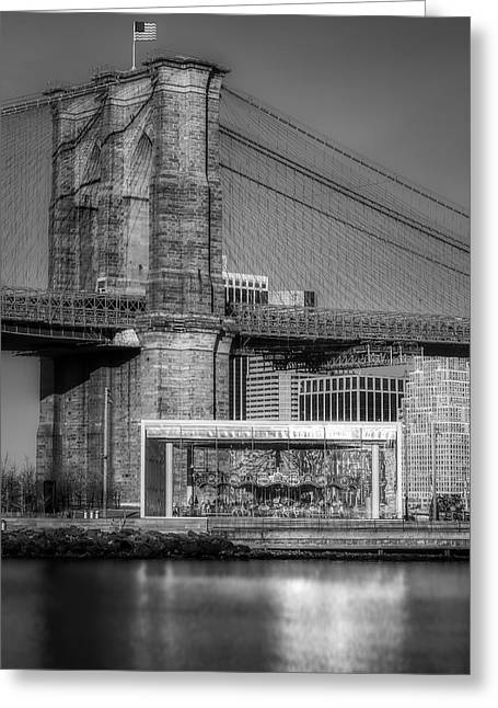 Jane's Carousel Brooklyn Bridge Bw Greeting Card by Susan Candelario