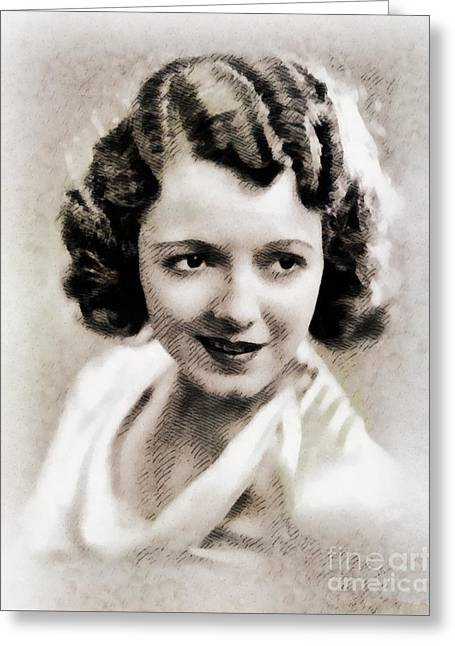 Janet Gaynor, Vintage Actress By John Springfield Greeting Card by John Springfield