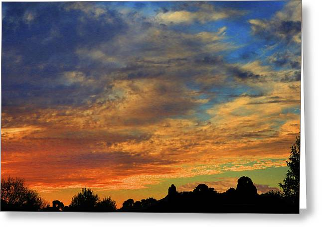 Greeting Card featuring the photograph Jangly Sunset by Mark Blauhoefer