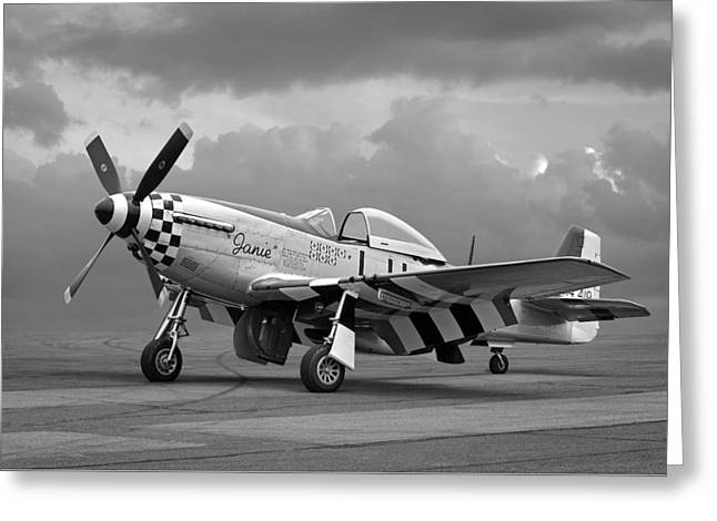 Janie P-51 In Black And White Greeting Card