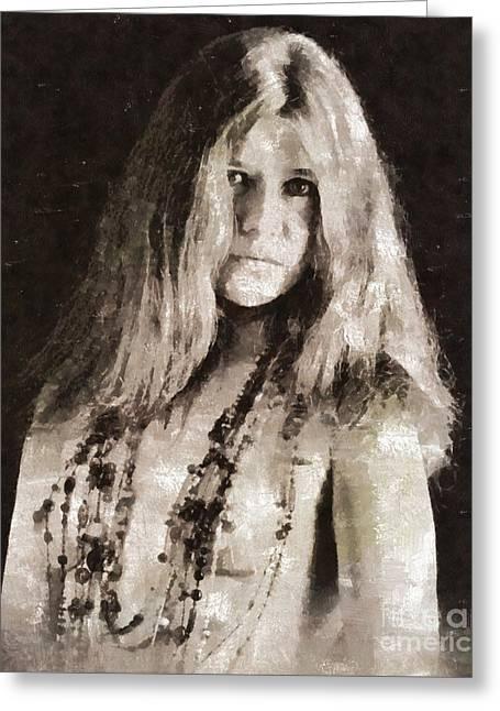 Janis Joplin By Mary Bassett Greeting Card