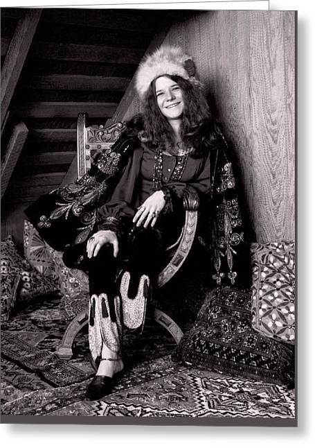 Janis Joplin Casual Greeting Card by Daniel Hagerman