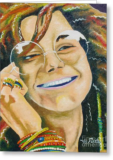 Janis Joplin  Greeting Card by Joseph Palotas